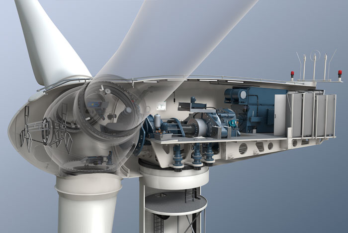 Wind turbine with gearbox for onshore and offshore