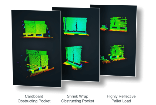 Comparison of pallet data in point cloud form from the ifm 3D camera