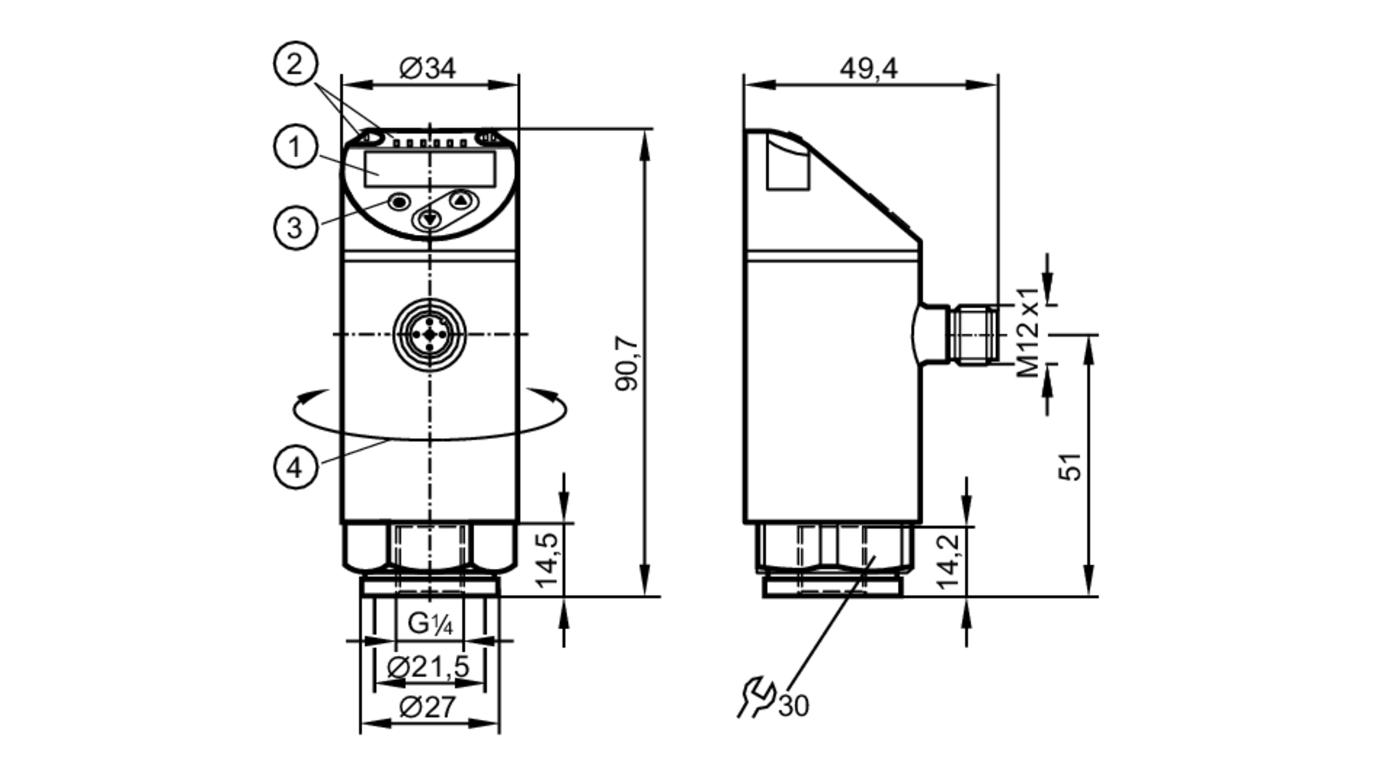 qfrkg//us//n unused OVP IFM Electronic sensor de presión pn7094 pn-010-rer14
