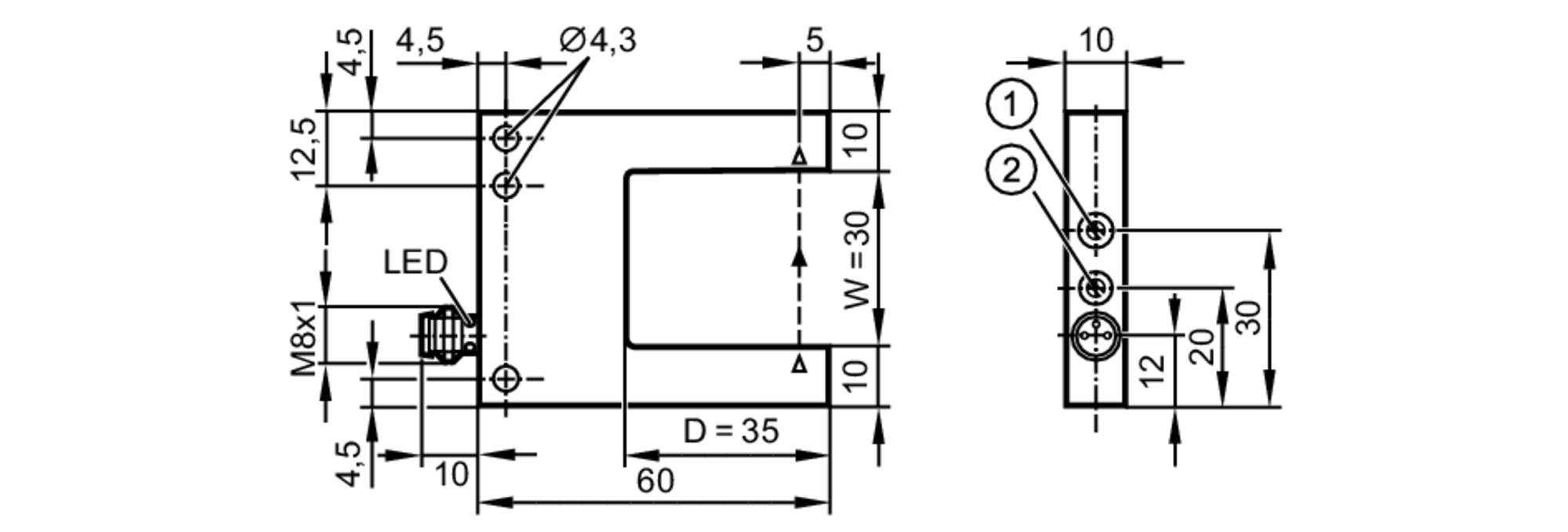 opu202 - photoelectric fork sensor