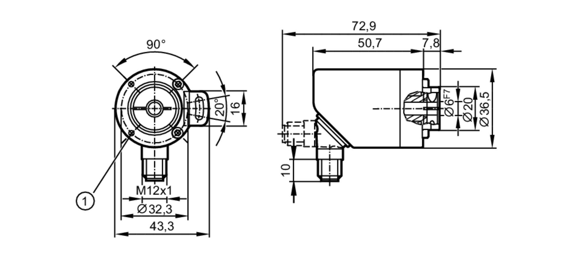 Ra3100 Incremental Encoder With Hollow Shaft Ifm Electronic 7 Pole Wiring Diagram Scale Drawing