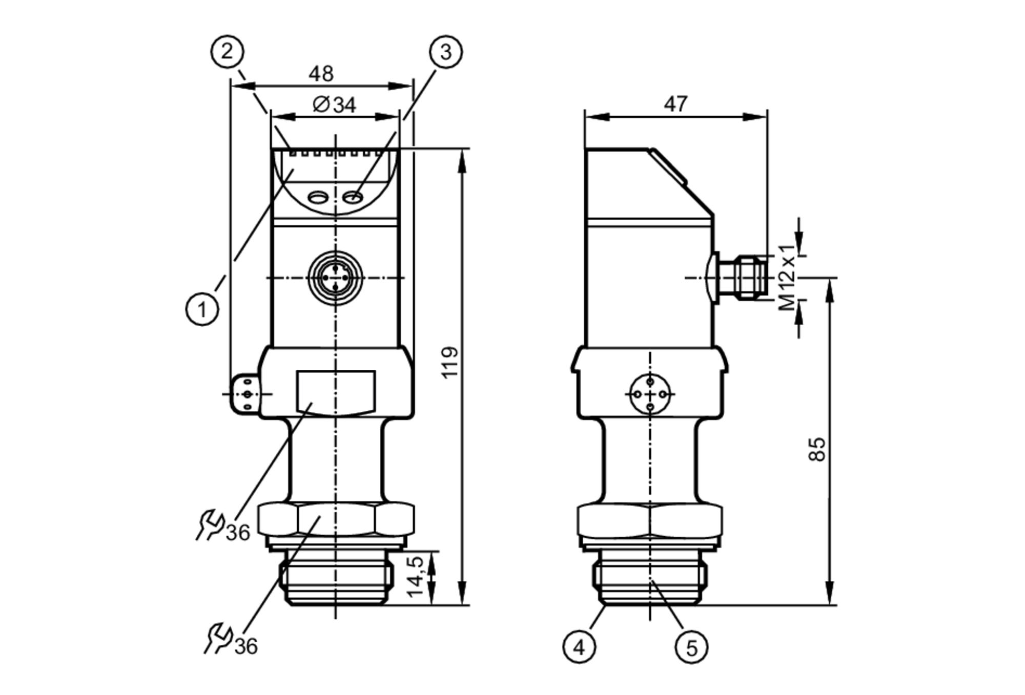 pi2096 - flush pressure sensor with display