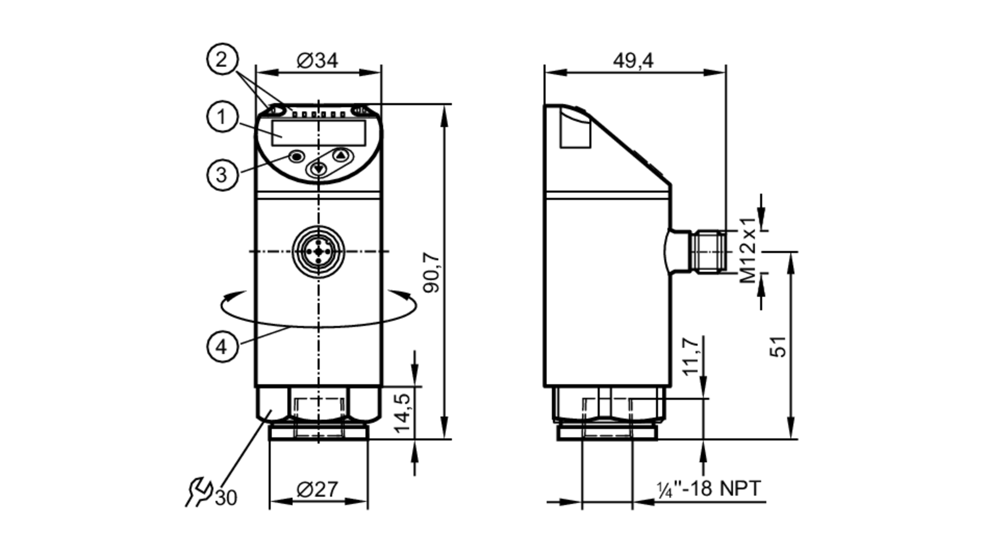 pn2298 - pressure sensor with display